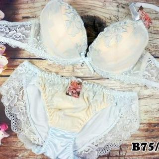 SE32★B75 M★美胸ブラ ショーツ Wパッド フラワーシフォン 水色(ブラ&ショーツセット)
