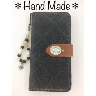 オリジナル✨iPhone手帳型 天然石とビジュー付き スマホケース  (iPhoneケース)