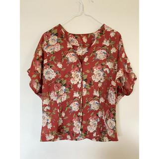 vintage  お花のブラウス 古着 レトロ 古着ブラウス 花柄(シャツ/ブラウス(半袖/袖なし))
