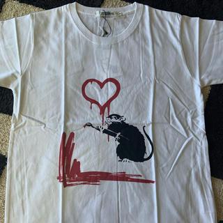 ステューシー(STUSSY)のバンクシー  Banksy Tシャツ Love Rat ネズミ白 ホワイト(Tシャツ/カットソー(半袖/袖なし))
