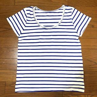 アダムエロぺ(Adam et Rope')の美品 ブルー ボーダー Tシャツ(Tシャツ/カットソー(半袖/袖なし))