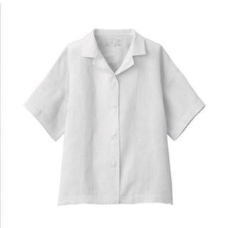 MUJI (無印良品) - 無印良品オーガニックリネン洗いざらし半袖開襟シャツ 婦人M~L・シルバーグレー