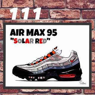 AIR MAX 95 SOLAR RED コミック アート ポスター 額付き1枚(スニーカー)