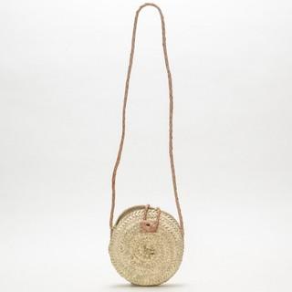 ファティマモロッコ(Fatima Morocco)のファティマモロッコ レザー×天然草 かごショルダーバッグ カゴポシェット(かごバッグ/ストローバッグ)