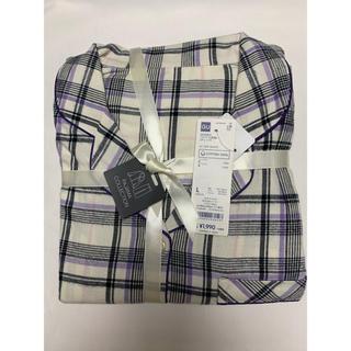 ジーユー(GU)の新品 ジーユー   綿100%  長袖パジャマ チェック オフホワイト(パジャマ)