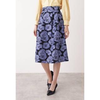 NATURAL BEAUTY BASIC - ナチュラルビューティーベーシック フラワージャガードスカート  花柄 スカート