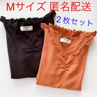 しまむら - しまむら リブ メロウ 半袖 Tシャツ 2枚セット URBANITY