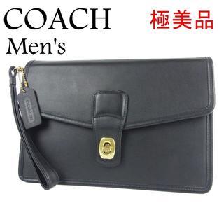 コーチ(COACH)のコーチ 極美品 メンズ ターンロック レザー クラッチ セカンド バッグ(セカンドバッグ/クラッチバッグ)
