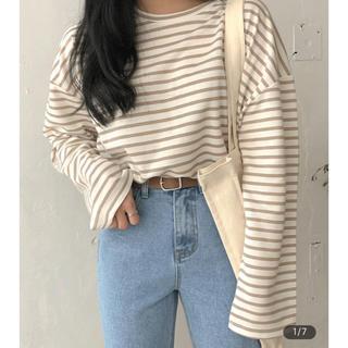 GOGOSING - ブラウンボーダーTシャツ 韓国通販