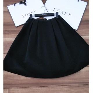 フォクシー(FOXEY)のフォクシー スカート 38 黒 フレアシルエット(ひざ丈スカート)