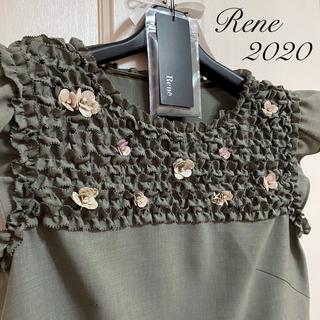 ルネ(René)の新品タグ付【Rene】2020年フラワービジューフリルブラウス(シャツ/ブラウス(半袖/袖なし))