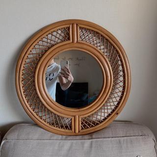 アクタス(ACTUS)のラタン ウォールミラー ヴィンテージ アンティーク 鏡 壁掛け インテリア(壁掛けミラー)