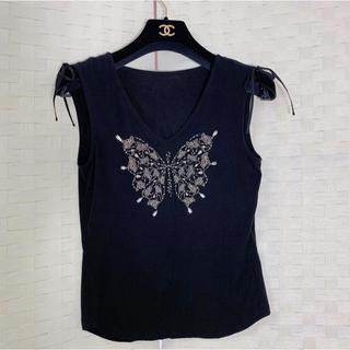 スーナウーナ(SunaUna)の SunaUna スーナウーナ:Tシャツ バタフライ ビジュー付き(Tシャツ(半袖/袖なし))