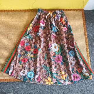 グッチ(Gucci)のGUCCI フローラルプリント ジャージー スカート(ロングスカート)