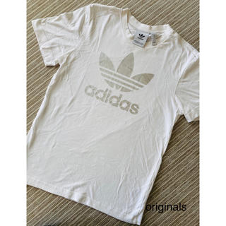 adidas - 【美品】adidas originals Tシャツ白×シルバーS 定価4389円
