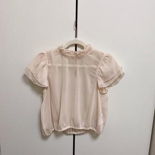 ナチュラルクチュール(natural couture)のフリルカラーシースルーブラウス(シャツ/ブラウス(半袖/袖なし))