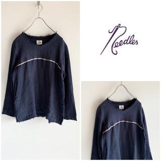 ニードルス(Needles)のNEEDLES カットオフデザインリネンカットソー ネイビー サイズM(Tシャツ/カットソー(七分/長袖))