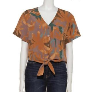 カスタネ(Kastane)のkastane フロントリボンノーカラー半袖シャツ リゾートシャツ(シャツ/ブラウス(半袖/袖なし))