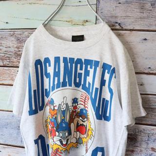 LOSANGELES DODGERS Tシャツ 霜降りグレー M(Tシャツ/カットソー(半袖/袖なし))