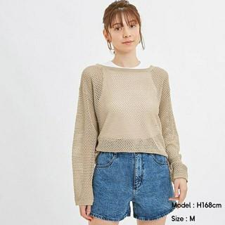 GU - GU ジーユー メッシュオーバーサイズセーター