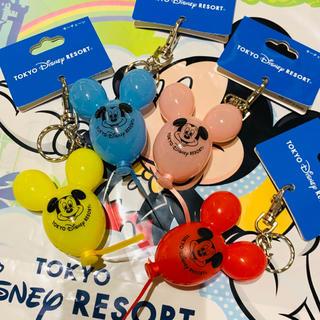 ディズニー(Disney)のピンクお品切れ! ディズニー バルーン キーチェーン 4点セット キーホルダー(キャラクターグッズ)