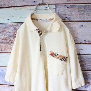 バーバリー(BURBERRY)のBurberrys バーバリー ポロシャツ チェック ホワイト M(ポロシャツ)
