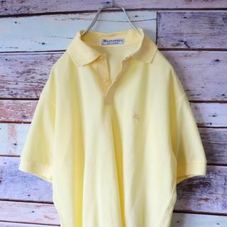 バーバリー(BURBERRY)のBURBERRYSバーバリー ポロシャツ  刺繍ロゴ イエロー S(ポロシャツ)