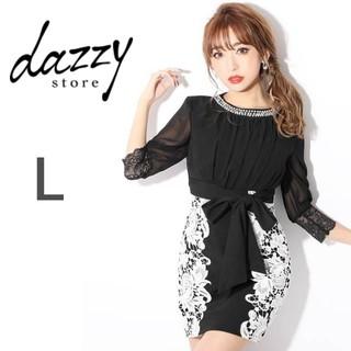 dazzy store - クラシカル花柄レース シフォンプリーツ タイト キャバドレス