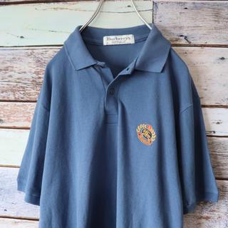 バーバリー(BURBERRY)のBurberryバーバリー ポロシャツ ワンポイント刺繍 ブルー S(ポロシャツ)