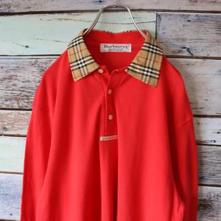 バーバリー(BURBERRY)のBurberryバーバリー ポロシャツ ロング バーバリー チェック レッド L(ポロシャツ)