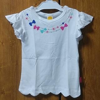 ムージョンジョン(mou jon jon)のmoujonjon ムージョンジョン 100 フリル袖 リボン お花 ラメ 白(Tシャツ/カットソー)