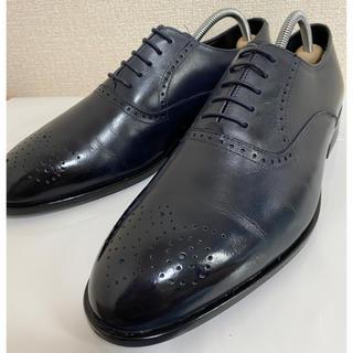 リーガル(REGAL)の極美品 スーツセレクト プレーントゥ メダリオン 24.5 ネイビー 革靴(ドレス/ビジネス)