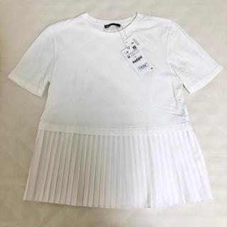 ザラ(ZARA)のZARA ザラ ペプラム プリーツ トップス 半袖(カットソー(半袖/袖なし))
