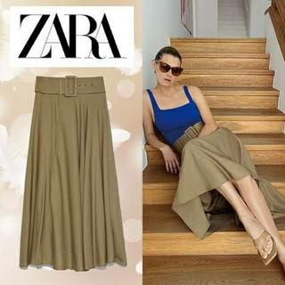 ザラ(ZARA)のzara ベルト付き ラスティック スカート(ロングスカート)