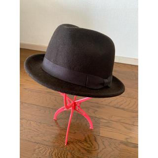 ユニクロ(UNIQLO)のUNIQLO ユニクロ シック ブラウン 帽子 中折れハット リボン(ハット)
