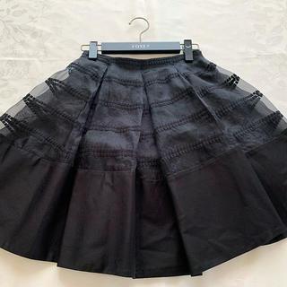 フォクシー(FOXEY)のフォクシー オーガンジーレーススカート 38 36(ひざ丈スカート)