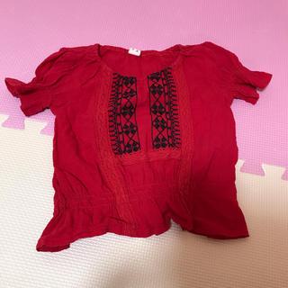シマムラ(しまむら)のしまむら 刺繍 チュニック  80 赤 トップス 綿(シャツ/カットソー)