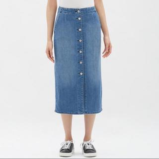 GU - GU デニム フロント ボタン ミディ スカート