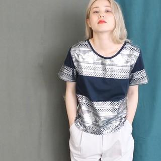 note et silence - Caph カーフ レースハクプリントPO 半袖 Tシャツ ノートエシロンス