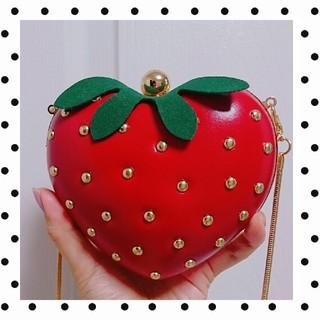 WEGO - いちごショルダーバッグ🍓ミニショルダー★苺バッグ韓国★ストロベリーMILK