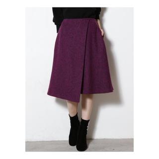 ラグナムーン(LagunaMoon)のラグナムーン  LAGUNAMOON メランジラップフレアースカート ツイード(ひざ丈スカート)