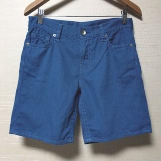 ユニクロ(UNIQLO)のUNIQLO デニム ショートパンツ(青色・水色ステッチ)(ハーフパンツ)