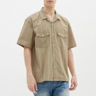 ジーユー(GU)のメンズ シャツ 半袖 L ストライプ ベージュ GU ジーユー(シャツ)