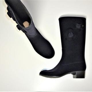 CHANEL - レア美品CHANELカメリア付きブーツレインブーツ長靴シャネルロゴ