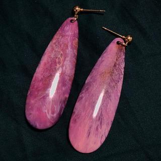 Ameri VINTAGE - イタリア ヴィンテージ 珍しい ピンク 紫 ゴールド 揺れる 大振り ピアス