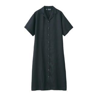 新品 無印良品  フレンチリネン洗いざらし五分袖開襟ワンピース  (ひざ丈ワンピース)