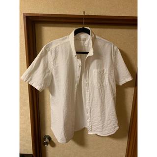 ムジルシリョウヒン(MUJI (無印良品))の無印良品 新疆綿サッカーボタンダウン半袖シャツ 紳士L・白(シャツ)
