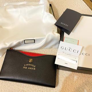 Gucci - GUCCI アニマリエ タイガー 黒 赤 美品 長財布 スリム カードケース本物