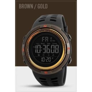 SKMEI デジタルスポーツウォッチ(ブラウン・ゴールド)(腕時計(デジタル))