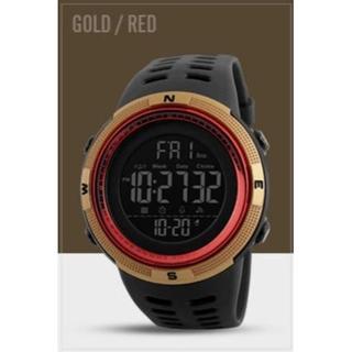 SKMEI デジタルスポーツウォッチ(ゴールド・レッド)(腕時計(デジタル))